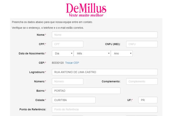 Como fazer cadastro na Demillus
