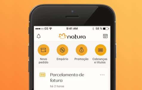 cobranças e títulos app natura