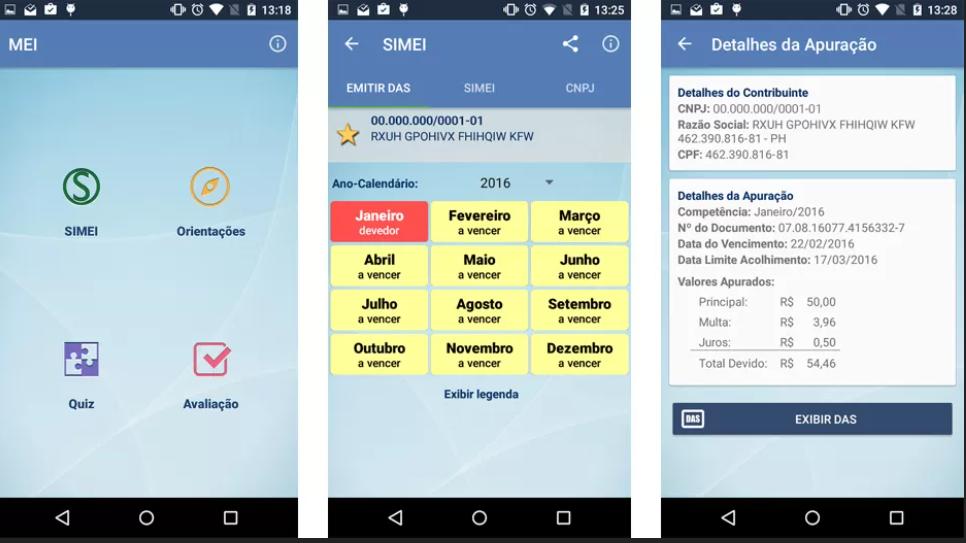 Recursos aplicativo MEI