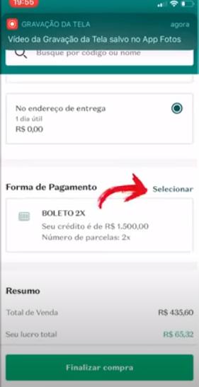 forma de pagamento do pedido Boticário