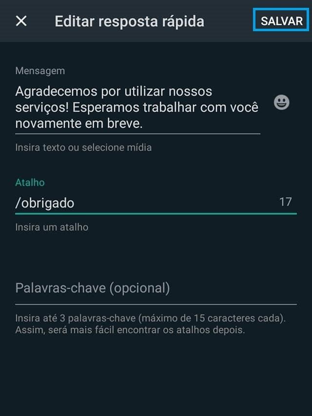 configurar mensagens rápidas automáticas no whatsapp business