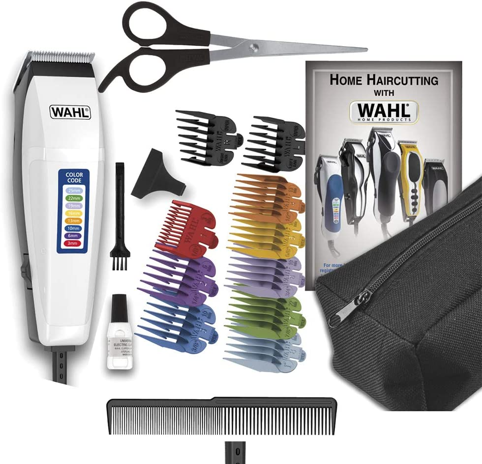 Wahl Color Pro e seus acessórios, com destaque para os pentes coloridos (Imagem: Divulgação/Wahl)